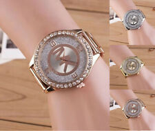 Hot Fashion Women Men Diamond Crystal Stainless Steel Wrist Quartz Watches