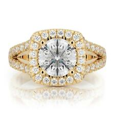 2 Ct D VS2 Certified Diamond Engagement Ring Round Cut 14k Yellow Gold