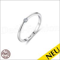 NEU 🌸 ECHT 925 Silber RING Rhodiniert SOLITÄR Zirkonia Brillantschliff 🌸 Ring