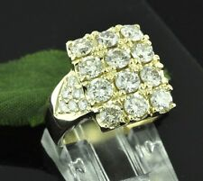 3.50 ct 14k Solid Yellow Gold Ladies Natural Diamond Ring Cluster  domino style