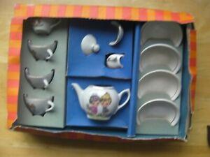 Vtg Children's China Tea Set 4 Cups 4 Saucers Teapot Sugar Bowl Jug Boxed