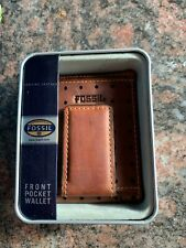 NIBT Men's Fossil Leather Brown Austin Bifold with ID Window in Tin