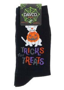 Halloween Socks Black Ladies Crew White Dog Holding Pumpkin Tricks For Treats