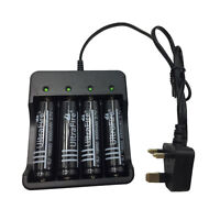 4 X 18650 Batteries 3.7V 6000mAh Li-ion Rechargeable Battery & UK Plug Charger