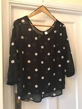 New H&M Black & White Spotty 3/4 Sleeve Silky Sheer Top,UK 10