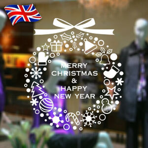 Wall Window Stickers Christmas Decals Gift Wreath Home Shop Decor Merry XMAS!!!