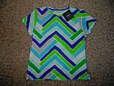 NWT Liz Claiborne Woman Large Green Blue Gray White Zig Zag Knit Shirt Top S/S