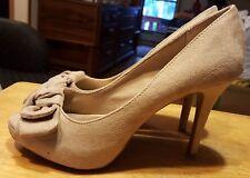"Fioni heels etsy gray bow on toe size 7 1/2 women slip on 4"" heel 3/4"" platform"