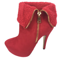Womens Ladies Red Faux Suede High Heel Party Shoes Ankle Boots Size UK 7 New