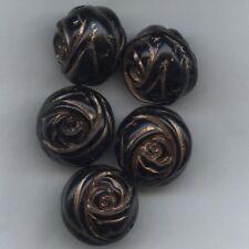 208194 *** 6 grosses perles acrylique 20x17mm NOIR, stries mordoré