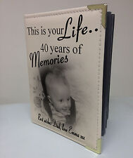 Personalised photo album, memory book, this is your life, 40th birthday gift
