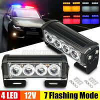 2X 12V 4 LED Car Truck Strobe Flash Grille Light Warning Hazard Emergency Lamp