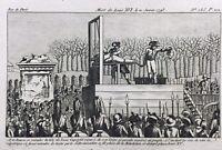 Mort Louis Capet 1793 Louis 16 Guillotiné Rare Gravure Révolution Française