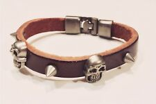 FASHION ACCESSORY - Brown Leather Distressed Steel Skull & Studs Bracelet