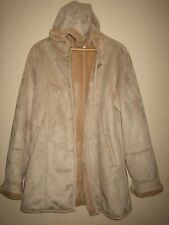 A WOMENS VINTAGE HOODED GABRIELLA VICENGA PALE BROWN FAUX SUEDE COAT SIZE 14