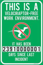 Metal Tin Sign velociraptor free work environment Home Vintage Retro Poster Cafe