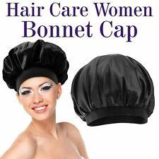 Women Silk Night Sleep Cap Hair Care Bonnet Hat Head Cover Satin Turban Black