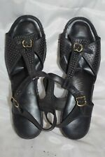 Vintage Revelations Black Perforated Sandals T Strap Leather Shoes Size 9 1/2 M