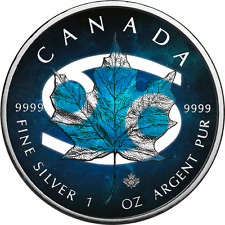 2017 1 OZ OUNCE SILVER CANADIAN MAPLE .9999 COLORIZED COA CANCER HOROSCOPE COIN