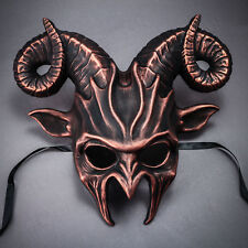 Half Face Horn Devil Halloween Mask RAM GOAT Costume Masquerade Black & Copper