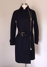 JCrew Belted Zip Trench Coat Wool Melton Outerwear e4396 $398 Navy 000 SOLD-OUT!