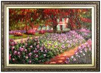 Framed Claude Monet Garden at Giverny Repro, Hand Painted Oil Painting 24x36in