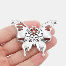 2pcs Antique Silver Large Open Hollow Butterfly Charms Pendant Jewelry Findings