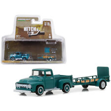 Greenlight 1954 Ford F-100 Pick Up Truck & Utility Trailer Green 1:64 32130-A