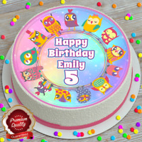 """OWLS BIRTHDAY CAKE TOPPER ROUND EDIBLE ICED ICING ROUND 7.5/"""" 8 CUPCAKE TOPPERS"""