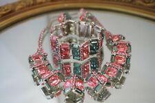 Vintage Wiesner Jewelry Set, Necklace, Bracelet & Earrings, Chunky Pink & Blue