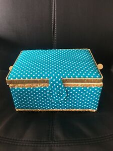 Blue Gold And White polka Dot Sewing Box - Premium Quality