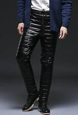 Unisex shiny soft nylon wet-look down pants trousers bottoms britches sport new