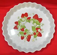 Vintage Stoneware Tart Quiche Baking Serving Dish Strawberries Japan