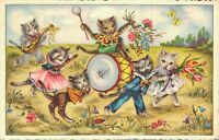 Dressed Cats Playing Instruments Outside Vintage Postcard 05.49