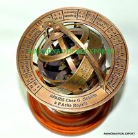 Engraved Brass Tabletop Armillary Nautical Sphere Globe Nautical Brass Sphere