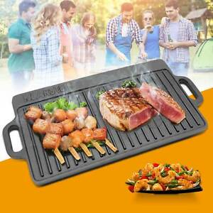 Non Stick Reversible Cast Iron Griddle Plate Grill Fry Pan BBQ Hob 50x23cm