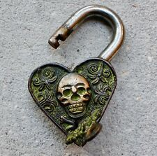 Antique Bronze Padlock zombie Skull skeletonVintage Goth wedding love lock gift