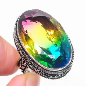 Bi-Color Tourmaline Gemstone Handmade 925 Sterling Silver Jewelry Ring Size 9