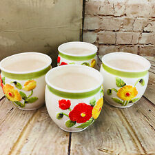"Vtg set of 4 Lefton Flower Pot Yellow & Red flowers.Made In Japan 4.5"" x 4.5 new"