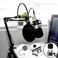 Condenser Microphone Kit Set Audio Pop Filter Boom Scissor Arm Stand Shock Mount