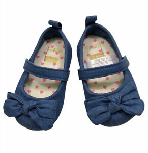 Carters 3-6 Months Girls Baby Shoes Slip On Blue Denim