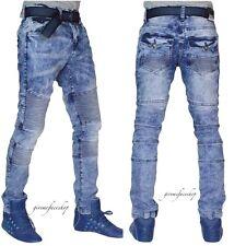 Hombre Entallado Envejecido Motero G Jeans Pantalones Vaqueros, Urban Skinny