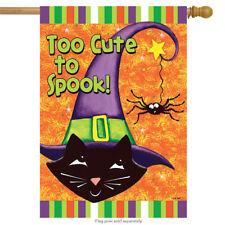 "Too Cute to Spook Black Cat House Flag Halloween Spider 28"" x 40"" Rain or Shine"