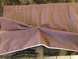 """PRETTY COUNTRY CURTAINS RED&IVORY CHECK VALANCE 81""""WX13""""L"""