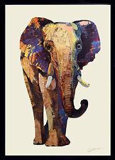 Elefante 3D Collage Arte Pittura Immagine Dipinto Parete India Africa Soggiorno