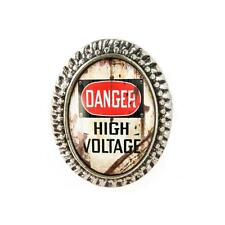 DANGER High Voltage Industrial Metal Warning Sign Antique Silver Glass Ring