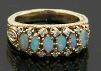 Vintage heavy 14K gold 1.32CTW diamond & opal cluster cocktail ring size 8.75
