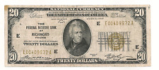 1929 Twenty Dollars National Currency Federal Reserve Bank of Richmond, Virginia