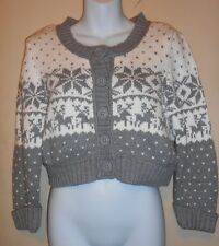 Decree Junior Snowflake Nordic Cropped Cardigan Sweater Gray & Snow XL NWT