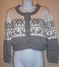 Decree Junior Snowflake Nordic Cropped Cardigan Sweater Gray & Snow XL NWT